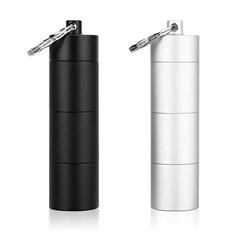 ENLOY 小型携帯型ケース 防水 アルミ合金 キーホルダー ゴムパッキン付き 3連結 2色セット ブラック+シルバー