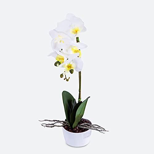 Bouquet di orchidee artificiali Fiori bianchi 42 cm di altezza Piante di Phalaenopsis di seta finta con fioriera in ceramica per tavolo da ufficio Decorazioni per matrimoni
