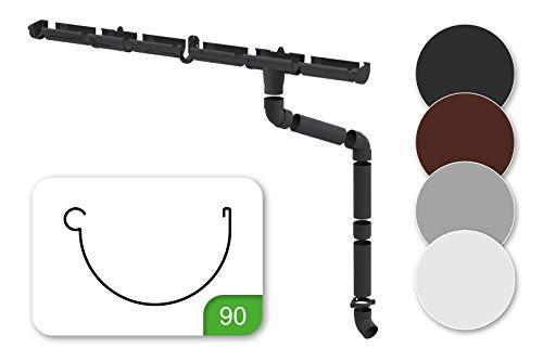 Regenrinnen Komplettset - für 1 Dachseite, Kunststoff PVC, für Dachflächen bis 100m² empfohlen, in 4 modernen Farben - RainWay90 (Set für min. 2 Meter, braun)