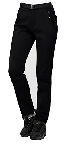 Geval de las Mujeres de Invierno al Aire Libre a Prueba de Viento de Softshell Fleece Pantalones de Nieve M Negro