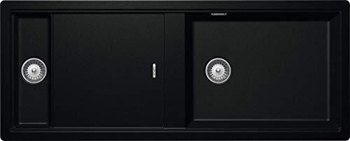 SCHOCK Küchenspüle 114 x 46 cm Prepstation D-150 Magma - CRISTADUR schwarze Granitspüle mit 1 ½ Becken mit Abtropffläche ab 120 cm Unterschrank-Breite