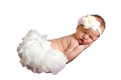 Cutie Baby Baby Girls Chiffon Bloomer, Diaper Cover, Ruffles Bloomer (X-Small-New Born, White)
