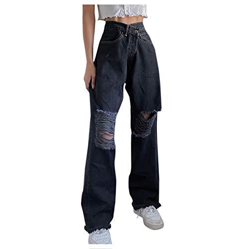BIBOKAOKE Y2K Jeans Damen 90er Jahre Vintage-Hose Persönlichkeits Bandage Design Jeanshosen Baggy Destroyed Hole Denim Mode Straight-Bein-Hose Denim Pants Streetwear