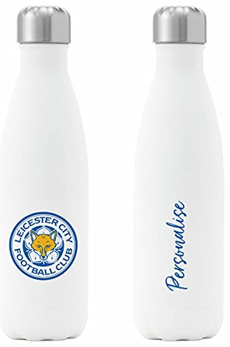 Personalised Leicester City FC Crest Insulated Water Bottle - White