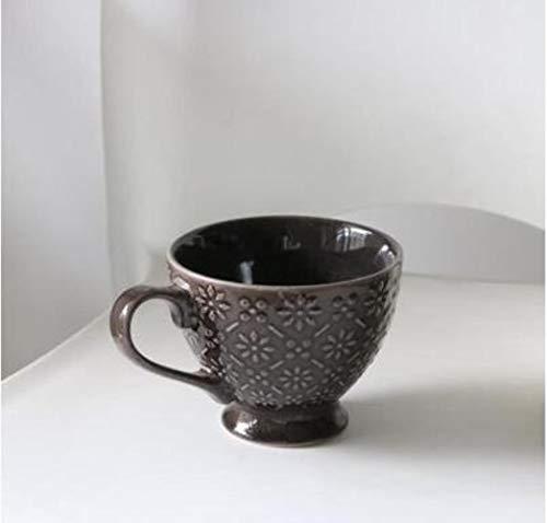 TKG 400ml Haute capacité Tasse de café Tasse Petit-déjeuner en céramique créative Coupe du Vintage Café Bar Fournitures gaufrée personnalité colorée,e