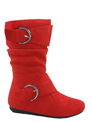 Link Klein-70k Girl's Kid's Faux Suede Two Buckle Zipper Flat Heel Mid Calf Slouchy Boot Shoes (3 B(M) US, Red)