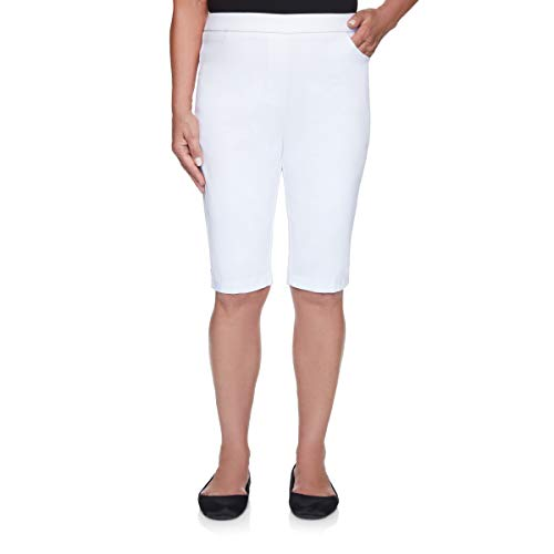 Alfred Dunner Women's Classic Fit Allure Bermuda Short, White, 14