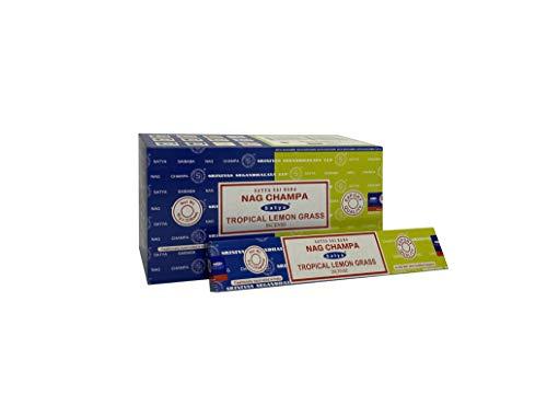 Satya 01339 Nag Champa & Tropical Lemon Grass Combo Set di Bastoncini di incenso, 12 Confezioni da 16 g, Multi, Taglia Unica