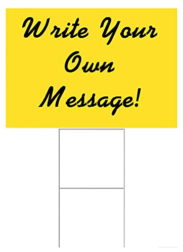 30 Pieces Yellow Signs 18''x24'', Flute 18 Inch & 30 Double H-Frame Stake 10''x24'' Metal Wire Stakes, for Advertising Any Out Door Events, Open House, Garage Sale, Election Signs (30Signs&30Stake)