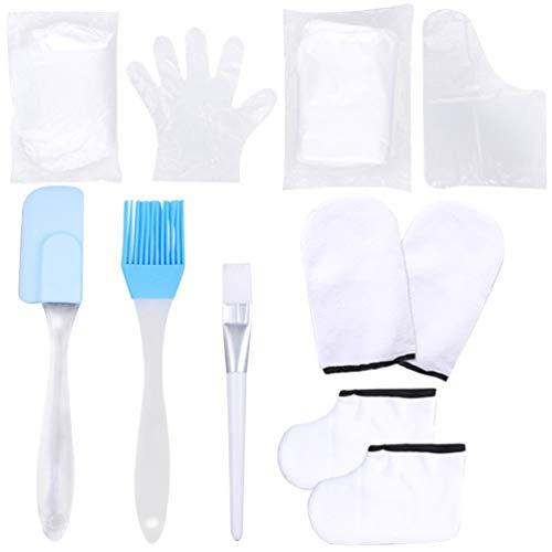 Luxshiny - Kit de baño de cera de parafina, guantes hidratantes, calcetín, espátula, cepillo de encerar, kit de tratamiento de manos y pies