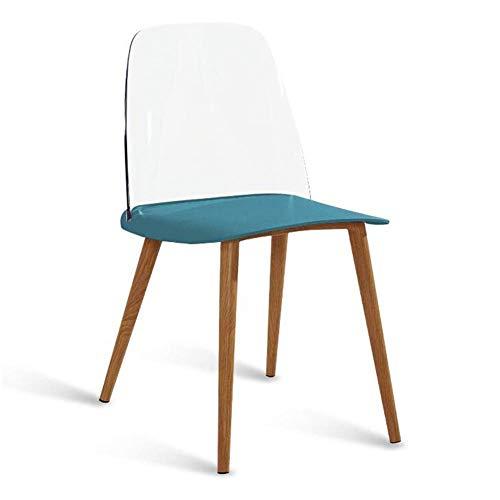 WSDSX Freizeitstühle Esszimmerstuhl Modern Home Plastic Tischstuhl Metallbeine Transparent Back Office Lounge Chair Langlebig stark