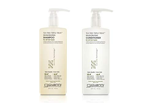GIOVANNI Tea Tree Triple Treat Invigorating Shampoo & Conditioner Set, 24 oz. Cooling Peppermint, Conditioning Rosemary, Eucalyptus, Helps Dry Flaky Scalp, Sulfate Free, Paraben Free (Pack of 1)