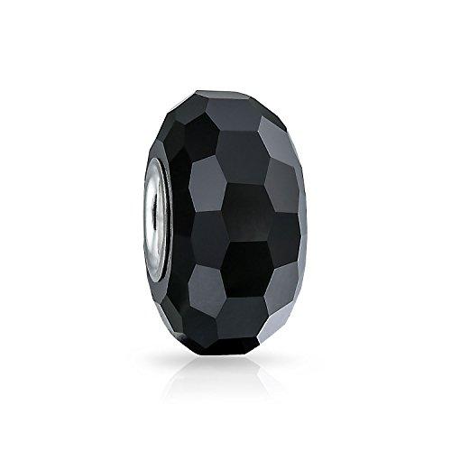 Sólido negro facetado Murano glass .925 plata esterlina core espaciador se adapta a la pulsera de encanto europeo para las mujeres adolescentes