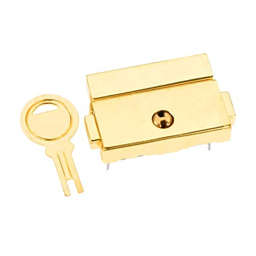 Buckle and Binding Traditional High Security Door 33 * 25mm Jewelry Chest Wine Wooden Box Case Toggle Latch Suitcase Hasp Leather Bag Handbag Purse Closure Lock with Key (Color : Gold)