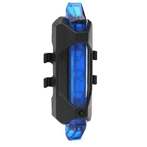 Floridivy 5 LED USB Recargable Cola luz Bici Recargable de la Bici de la Bicicleta de Seguridad Ciclismo advierte la lámpara Trasera portátil Flash Trasera Azul