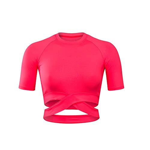 Mothcattl Top Deportivo De Yoga Para Mujer, Tirantes De Ombligo Expuestos Sexys, Camiseta De Cintura Alta Ajustada, Top Deportivo De Manga Corta De Yoga Para Ejercicios Deportivos Rojo naranja SNone