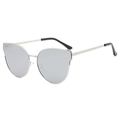 LG Snow Gafas de sol polarizadas de metal para mujer, diseño de ojos de gato, protección UV400, marco grande (color: plata)