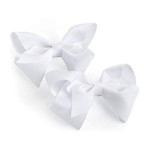 Haarklammern mit weißer Schleife, für Mädchen, Schnabelklammer, 2 Stück