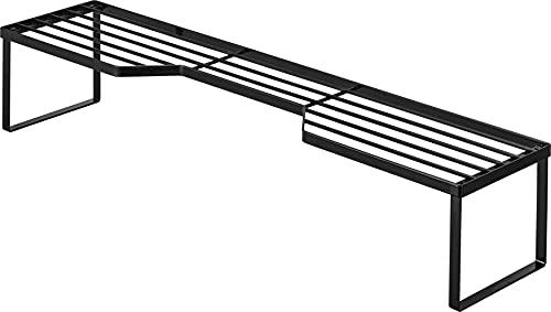 山崎実業(Yamazaki) 排気口カバー上 コンロ奥ラック 75cmコンロ用 ブラック 約W82.5XD18XH15cm タワー 高さがある 鍋置き フライパン置き 5267