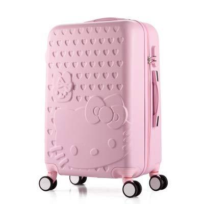 SGSG 2 unids/Set Hermosa Bolsa de cosméticos Hello Kitty de 14 Pulgadas 20 24 28 Pulgadas Estudiantes Maleta de Viaje con Ruedas una Maleta con Ruedas para Mujer