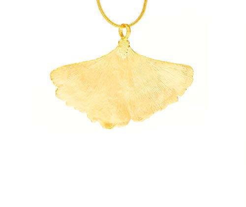 Ana Morales Echtes Naturblatt Ginkgo klein Damen-Anhänger 24 Karat vergoldet
