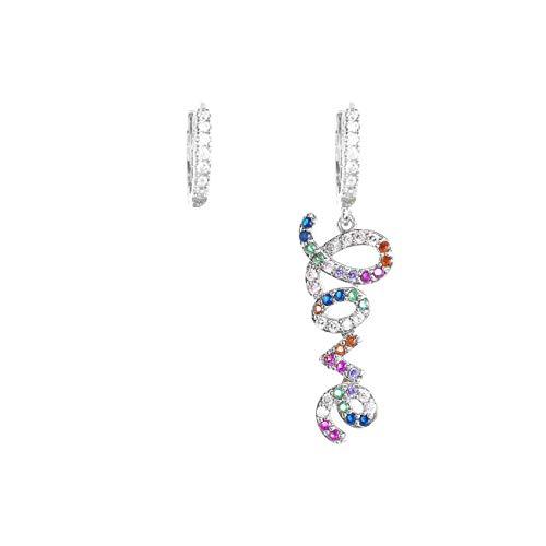 Inscincille Sparkling Pop - Pendientes de aro con colgante de amor curvo y pedrería arcoíris
