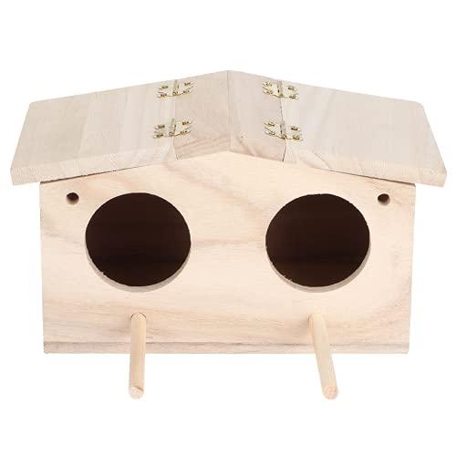 Gaeirt Nido di Uccello, Struttura Chiara e Porta a Due Fori Casetta per Uccelli Casa in Legno Forma per Ornamento da Patio per pappagalli Rondini