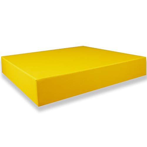 200 Geschenkschachtel Quadratisch - Gelb mit Deckel - Innen-Maße: 24x24x4 cm - Geschenkbox,Aufbewahrungsbox,Fotobox,Archivschachtel,Dokumentenbox