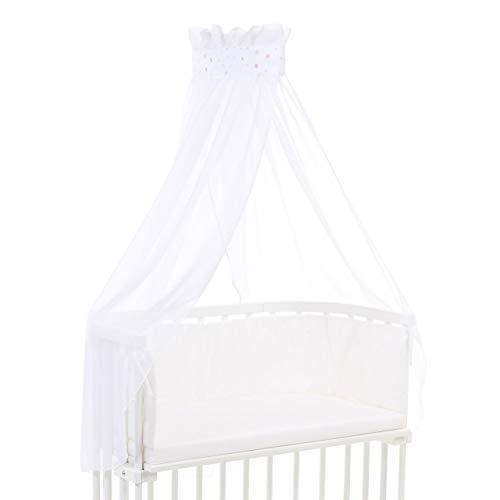 Ciel de lit babybay piqué avec ruban adapté aux modèles Original, Maxi, Boxspring, Comfort, Comfort Plus et Midi, blanc avec mélange d'étoiles sable/framboise