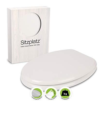 SITZPLATZ® WC-Sitz Venezia in Weiß, mit Metallscharnieren und robustem Holzkern, Toilettensitz in Standard O-Form universal, mit Holz-Kern, Klobrille und Klodeckel, 21890 0