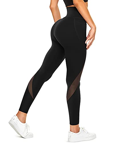 TrainingGirl Mesh Leggings for Women High Waisted Yoga Pants Workout Running Printed Leggings Gym Sports Tights with Pockets (Black, Large)