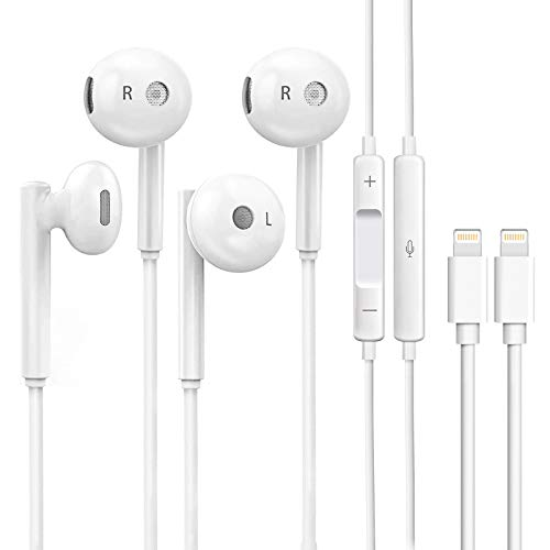 2Pack iPhone Wired Earbuds Earphones Headphones, Stereo Noise Canceling Isolating in Ear Headset with Built-in Microphone&Volume Control Compatible with iPhone 12 11 Pro Max Mini Plus SE X XS XR 8 7