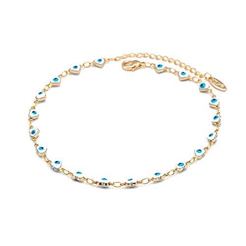Corazón Azul Turco Mal Ojo Encanto Tobillera Cobre Oro Color Pie Cadena Tobillo Pulsera Ajustable Para Las Niñas