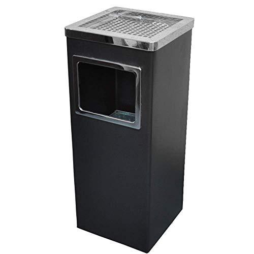 屋外 スタンド灰皿 高さ61cm ステンレス ごみ箱付き (角型・ブラック)