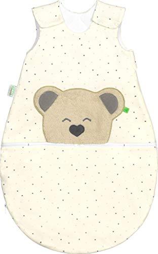 Set Odenwälder MUCKI AIR Babyschlafsack mit Stoffwindel von Kinderhaus Blaubär | Kinderschlafsack 100% Baumwolle temperaturausgleichend, Größe:90, Design:grau