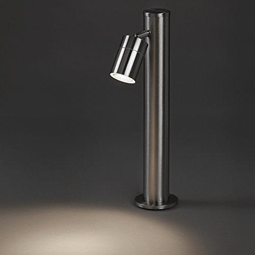QAZQA Modern Moderne Außenleuchte/Wegeleuchte/Gartenlampe/Gartenleuchte/Standleuchte Stahl/Silber/nickel matt 45 cm verstellbar - Solo/Außenbeleuchtung/Up/Down Edelstahl Länglich LED