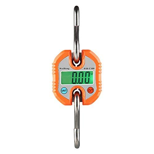 ENticerowts Elektronische Waage, C100, 150 kg, tragbar, digital, elektronisch, zum Angeln, zum Aufhängen, Waage, Orange
