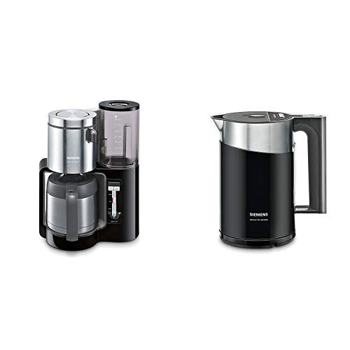 Siemens TC86503 Kaffeemaschine (1100 Watt, optimales Kaffeearoma, Timer-Funktion, abnehmbarer Wassertank, automatische Abschaltung) schwarz & TW86103P Wasserkocher schwarz/anthrazit