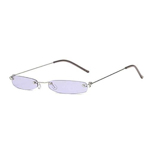 Inlefen Gafas de sol rectangulares sin montura Gafas pequeñas de sol vintage Gafas sin montura de metal