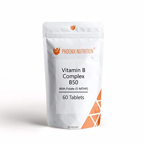 Vitamin B Complex B50 w/Folate x 180 Tablets High Quality Formula with Methylcobalamin and Methyl Folate (5-MTHF)