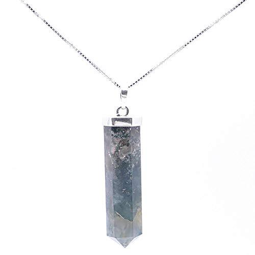ARITZI - Colgante en Plata de Ley 925 con Forma de Punta en Piedra Natural - Incluye una Cadena Box Chain de 45cm de Plata - Agata Musgo