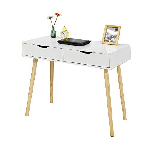 SoBuy FWT40-WN,Mesa de Ordenador con 2 cajones,Mesa de Escritorio,Blanco,90 x 77 cm,ES (Mesa)