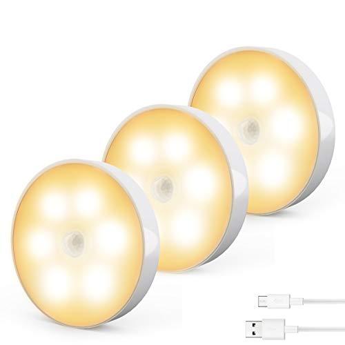 Luci Notturne, Cadrim Luci per Armadi a LED con Sensore di Movimento Ricaricabile USB (3 Pack), Luce per Armadi/Guardaroba, Luci Notturne Wireless per Cucina, Vetrina, toletta, Corridoio, Scala ecc