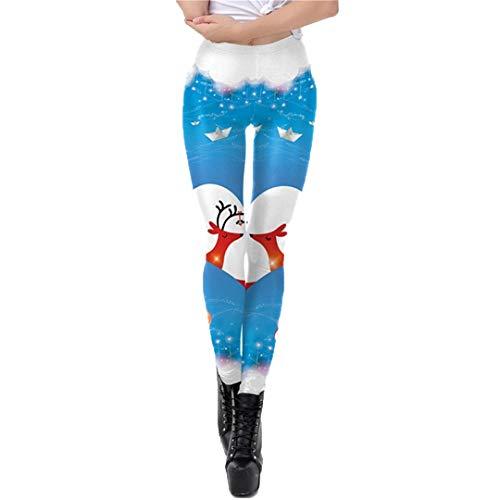 EDFLPUTB Santa Claus Leggings Women Christmas Shiny Tree Elk Festival Autumn Winter Fitness Legging Plus Size SKDK068 M