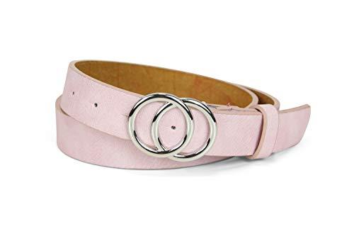 irisaa Schmaler Damen Gürtel mit runder Metallschnalle zwei Ringen, Hüftgürtel Taillengürtel mit Ringschnalle, ca. 3 CM breit, Farbe:pink, Länge:80