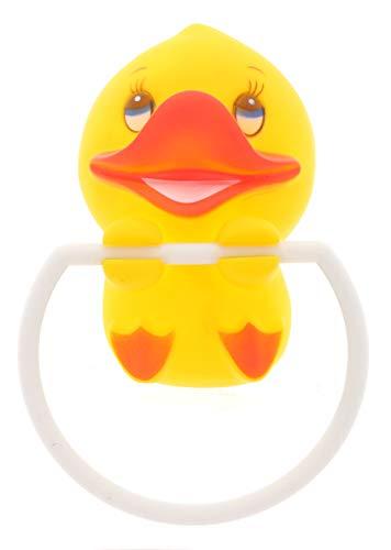 MIK Funshopping Kinder-Handtuchhalter Handtuchring mit Saugnäpfen, Befestigen ohne Bohren (gelbe Ente)