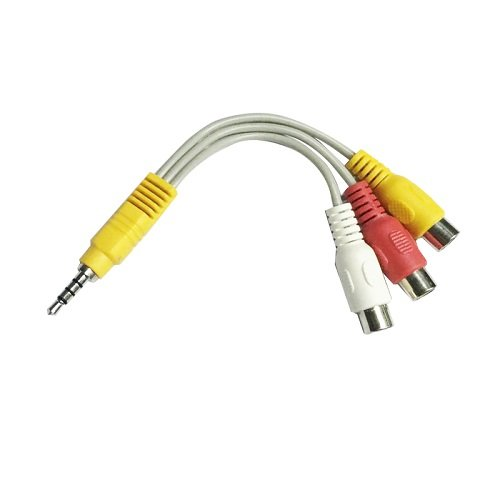 Cable de Video 3X RCA Hembra a 3.5 de 4 Pines 0.15 Metros Blanco