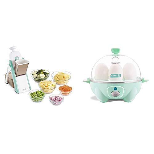 DASH Safe Slice Mandoline, Aqua & Rapid Egg Cooker: 6 Egg Capacity Electric Egg Cooker for Hard Boiled Eggs, Poached Eggs, Scrambled Eggs, or Omelets with Auto Shut Off Feature - Aqua