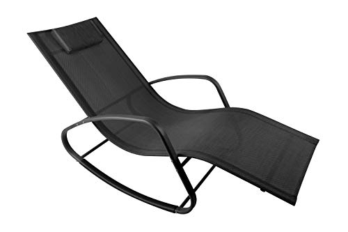 WeCooper Zero Gravity Rocking Chair, Patio Chaise for Indoor and Outdoor, Wavy Lounge Chair for Yard and Patio, Removable Headrest, Black and Silver