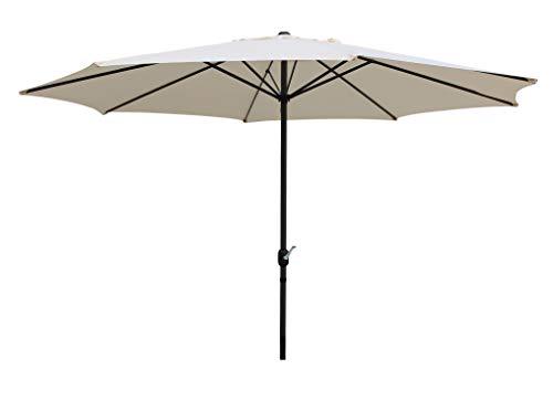 Pure Home & Garden XXL Kurbelschirm Sunny rund 400 cm Natur, mit UV-Schutz 40 Plus und abnehmbarem Bezug